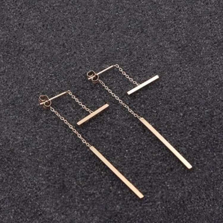 Double Bar Drop Earrings Rose Gold