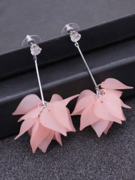 Flower Drop Earrings Pink Silver Tone