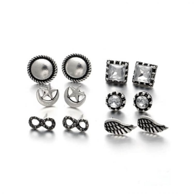 Mixed Stud Earrings Silver Tone 6 Pack