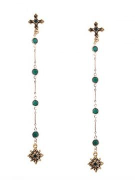 Rhinestone Cross Drop Earrings Gold Tone