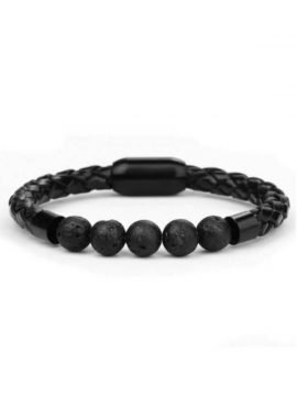 Woven Leather Bracelets Black Bangle