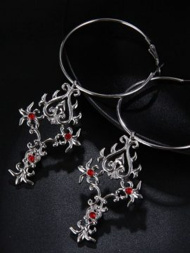 Crystal Cross Hoop Earrings Silver Tone