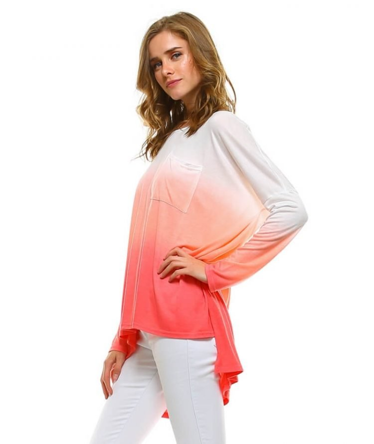 Dip Dye Shirt Womens Long Sleeve Coral
