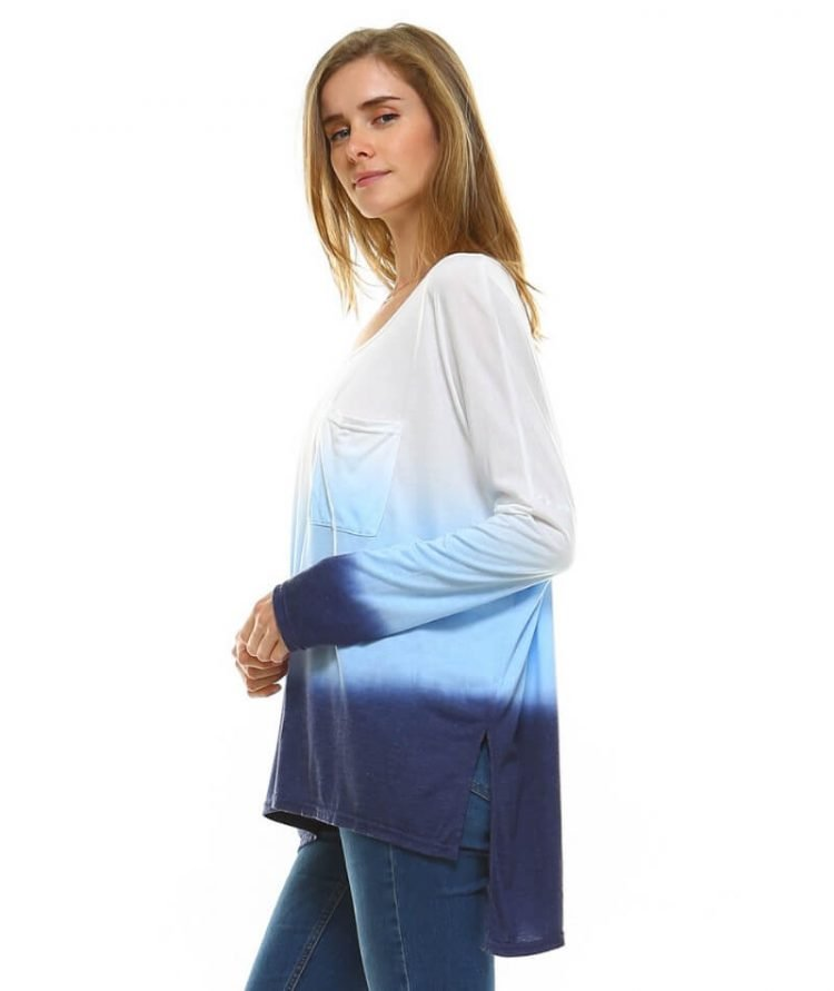 Dip Dye Womens Tunic Long Sleeve Blue