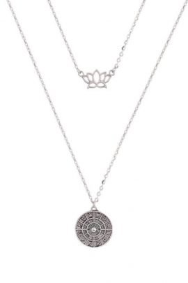 Double Layer Necklace Silver Tone Chain