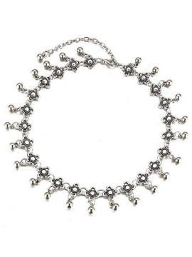 Floral Dangle Necklace Silver Tone Choker 1
