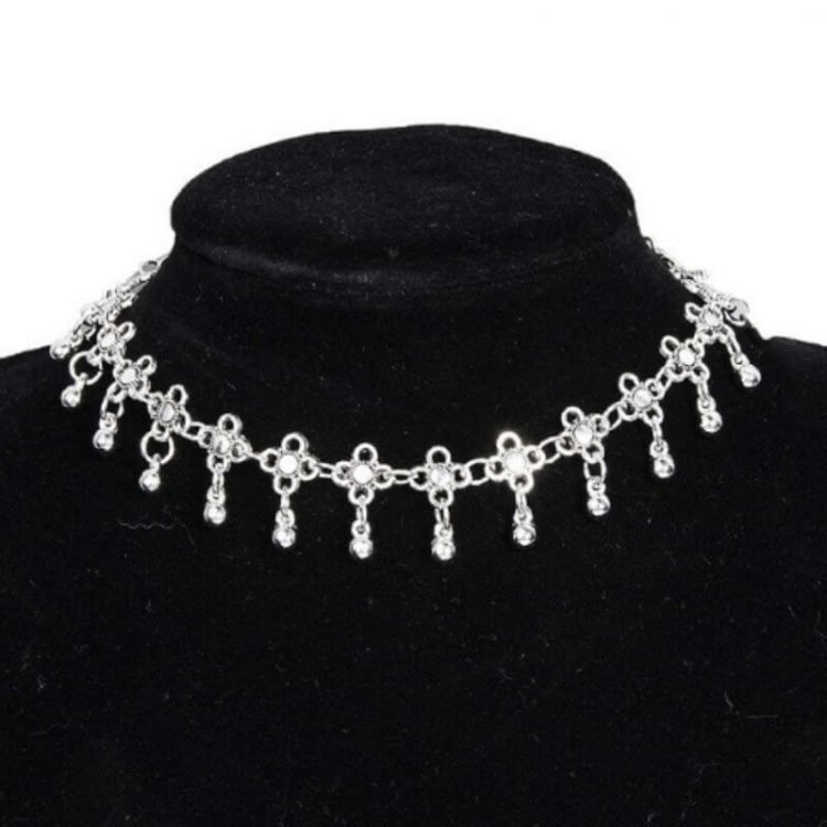 Floral Dangle Necklace Silver Tone Choker