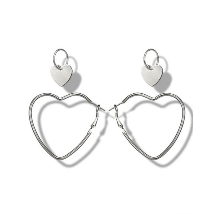 Open Heart Earrings Silver Tone Metal