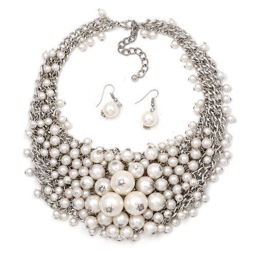 Pearl Cluster Necklace Set Silver Tone
