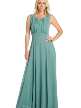 Pleated Maxi Dress Fitted Waist Style