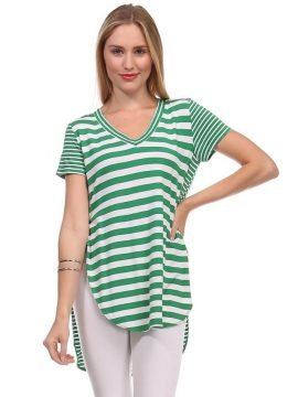 Short Sleeve Striped Top High Low Hem