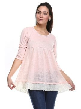 Three Quarter Sleeve Sheer Top Lace Hem