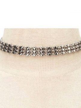 Wide Metal Choker Silver Tone Jewelry