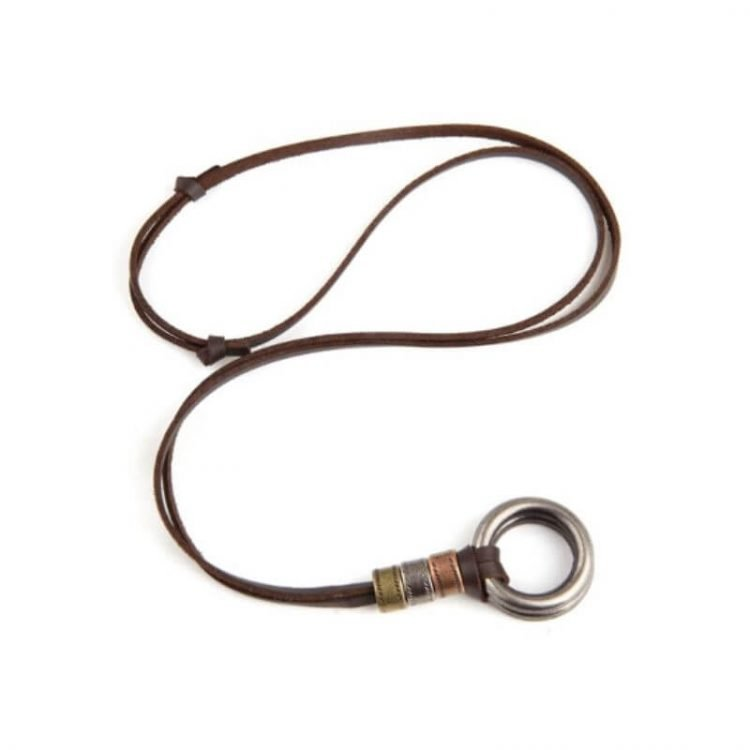 Adjustable Leather Cord Necklace Circle Pendant