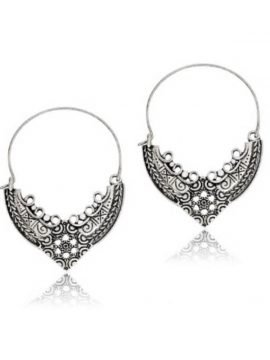 Antique Silver Hoop Earrings Filigree Dangle