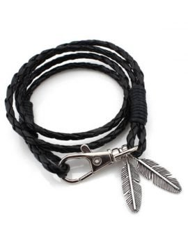 Braided Leather Bracelet Silver Tone Clasp