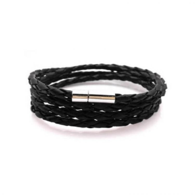 Braided Leather Wrap Bracelet Mens