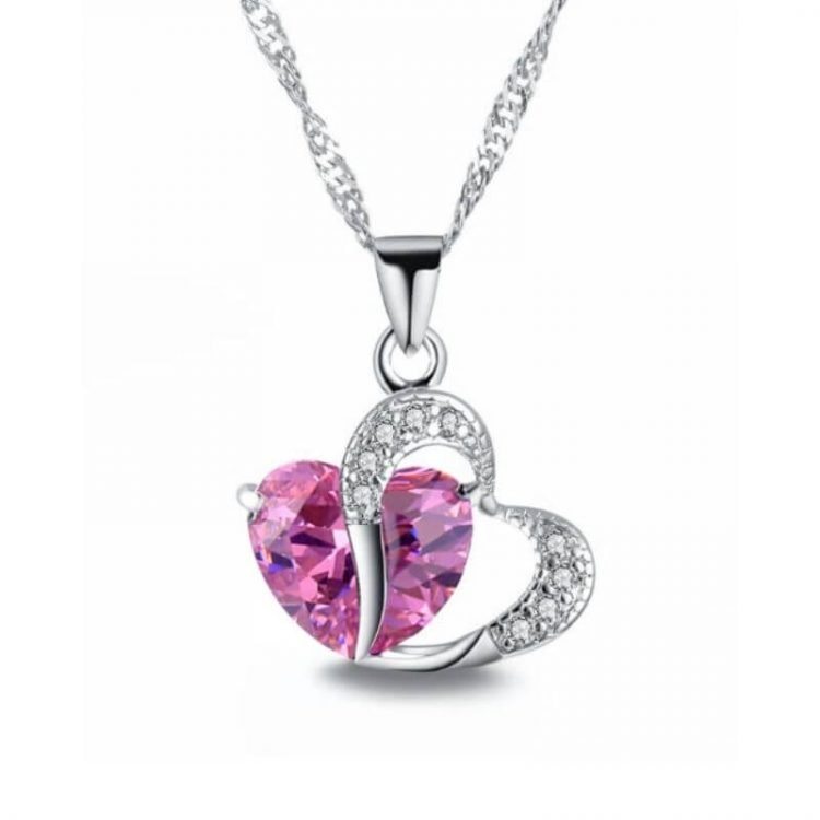 Crystal Double Heart Necklace Silver Tone