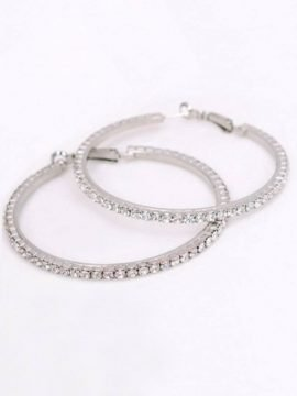 Crystal Large Hoop Earrings Silver Tone