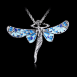 Fairy Wings Necklace Enamel Silver Tone