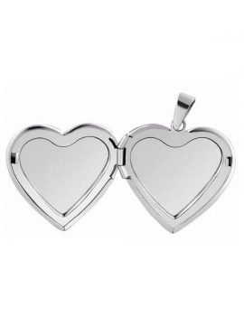 Heart Photo Locket Pendant Silver Tone