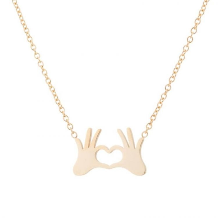 Heart Hand Necklace Gold Silver Tone
