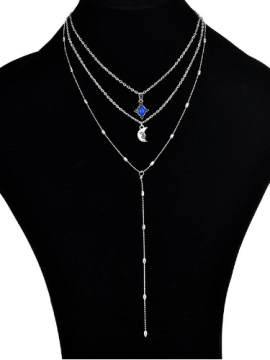 Multilayer Choker Necklace Moon Pendant