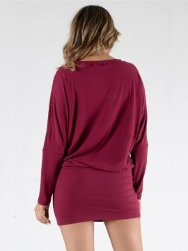 Bodycon Mini Dress Long Sleeve Burgundy