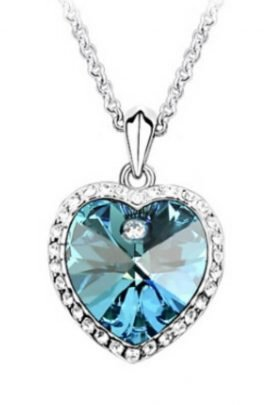 Crystal Heart Pendant Necklace Silver Tone