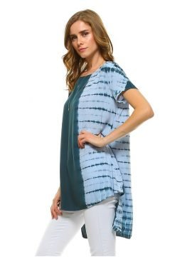 High Low Hem Tunic Top Short Sleeve