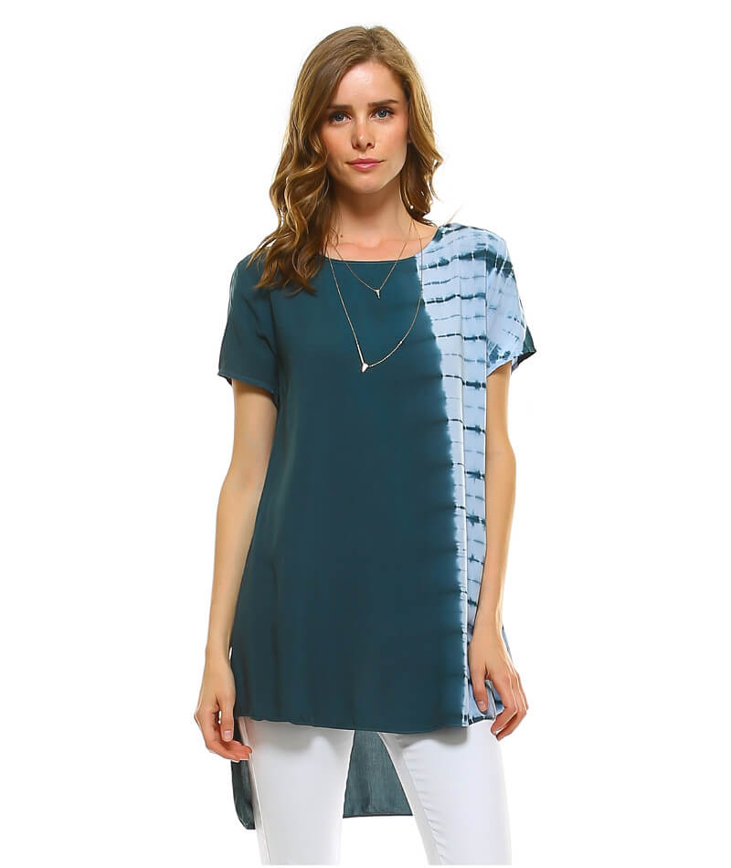 eca7443e651e67 High Low Hem Tunic Top Short Sleeve - UShopTwo