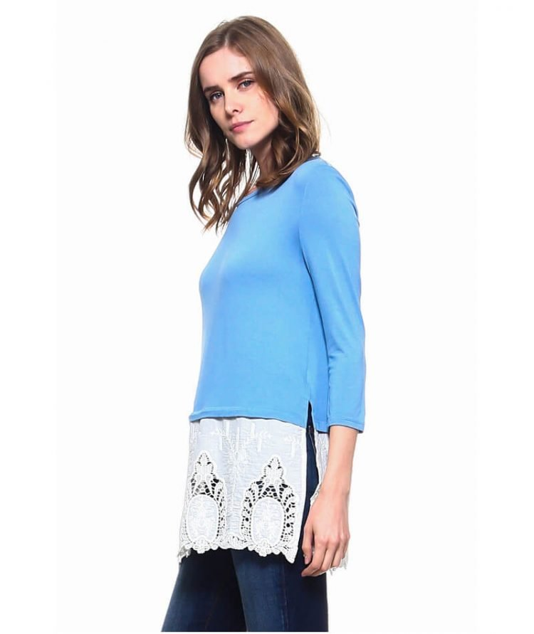 Lace Hem Top Three Quarter Sleeve Blue