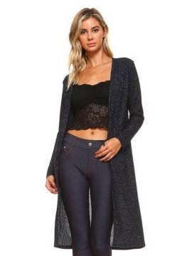 Long Sleeve Open Front Cardigan Navy