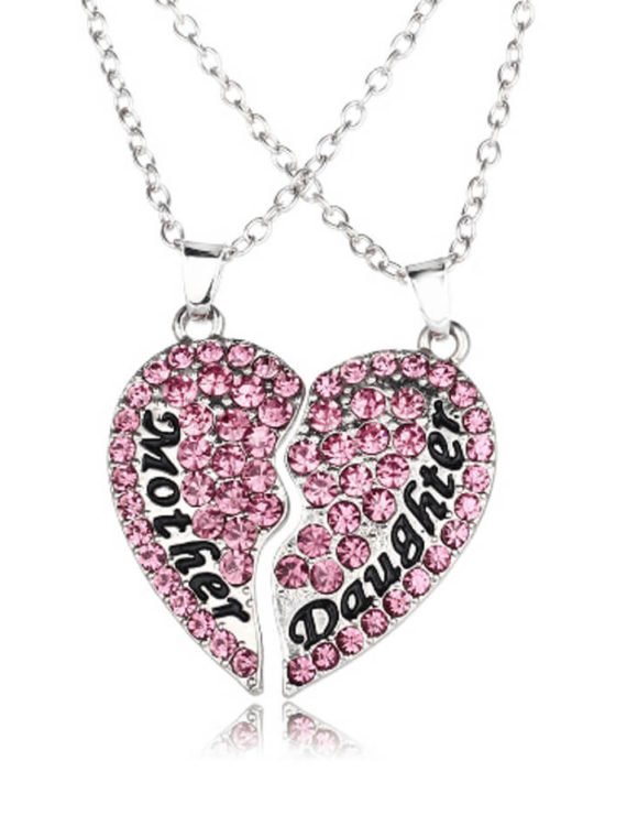 Mother Daughter Love Necklace Silver Tone