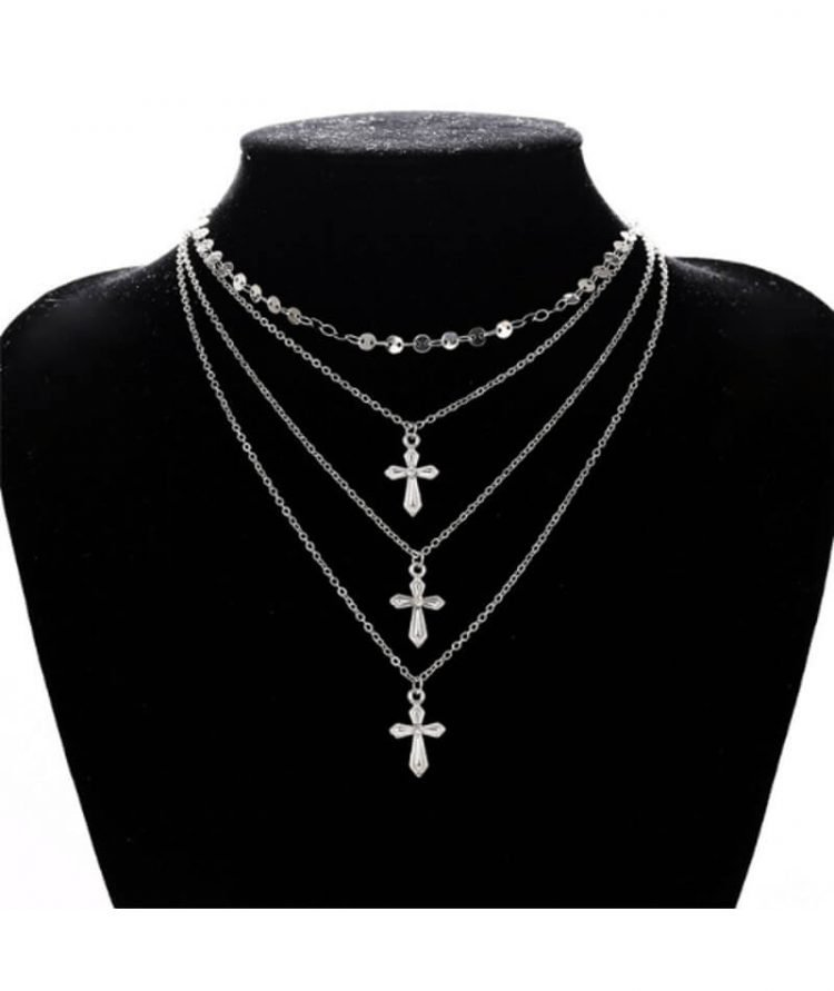 Multi Layer Cross Necklace Silver Tone