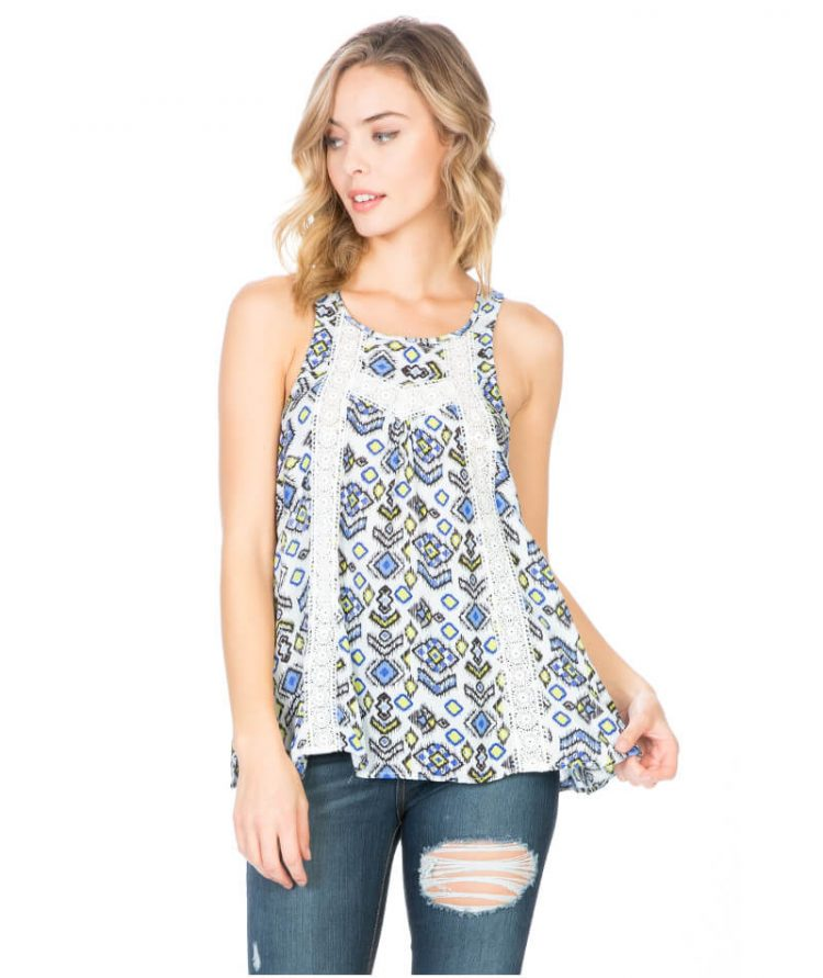 Printed Halter Top Loose Fit Lace Design