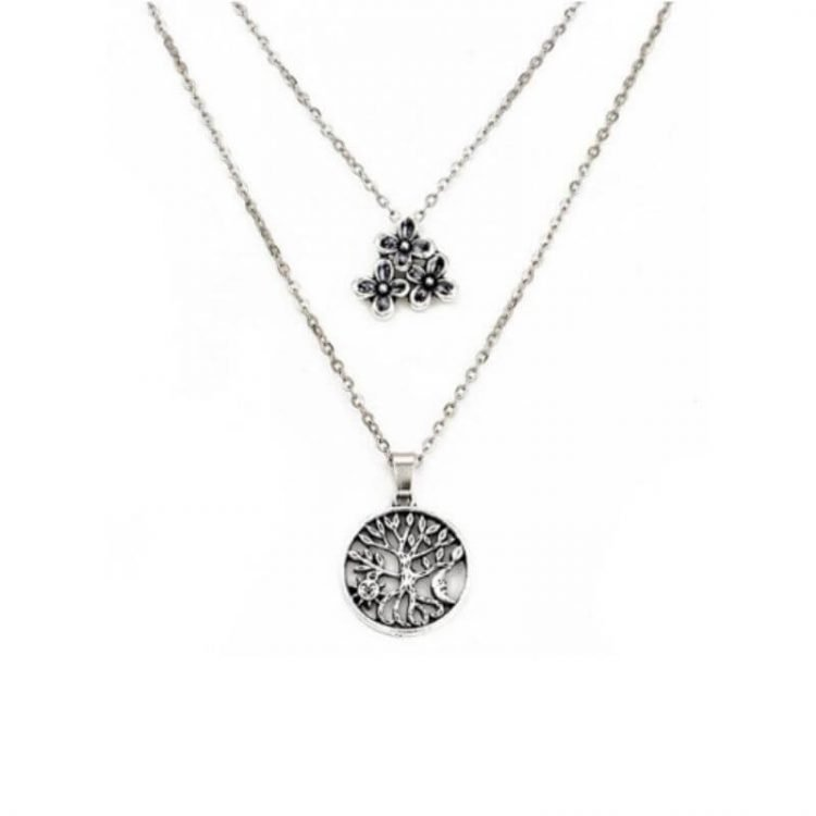 Tree Of Life Necklace Silver Tone Layered