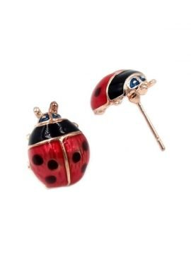Adorable Ladybug Stud Earrings Gold Tone