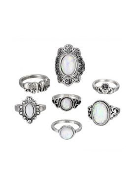 Bohemian Ring Set Antique Silver Tone 1