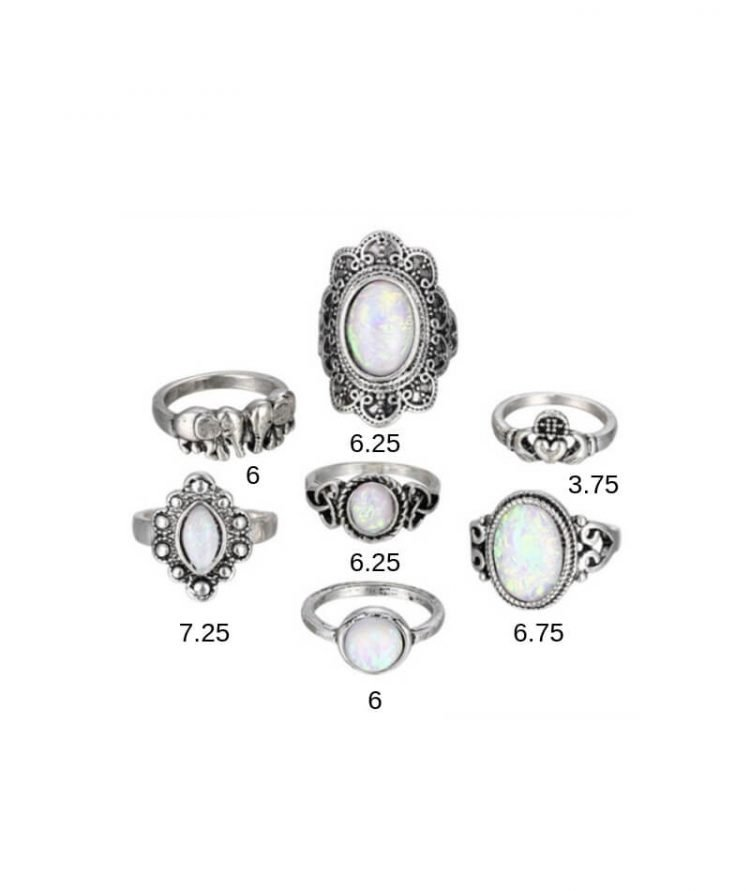 Bohemian Ring Set Antique Silver Tone