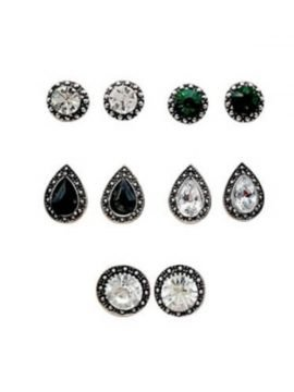 Geometric Stud Earrings Set Crystal Embellished