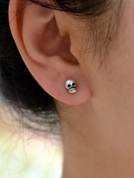 Tiny Skull Earrings Silver Tone Mini Stud