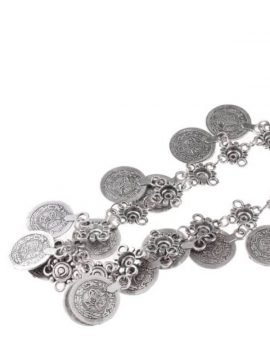 Boho Floral Chain Belt Antique Silver Tone