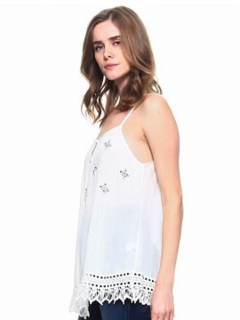 Lace Trim Tank Top Sleeveless Spaghetti Strap
