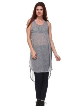 Sheer Tunic Top Long Grey Woven Blouse