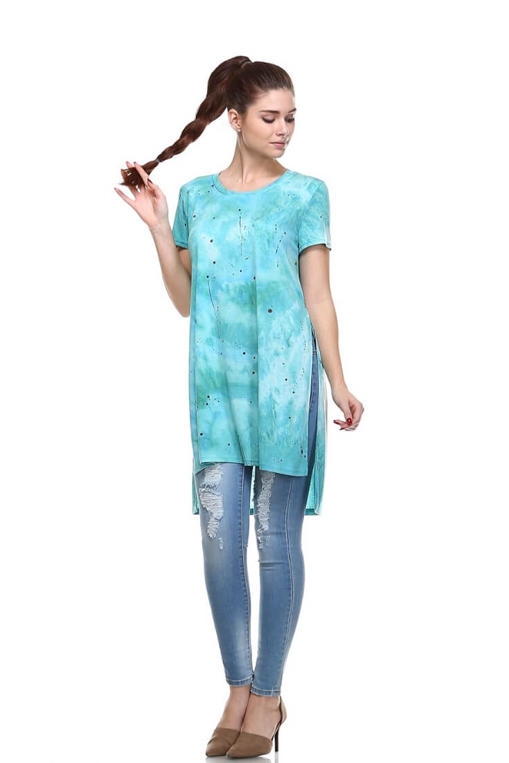 Short Sleeve Side Split Top Casual Tunic