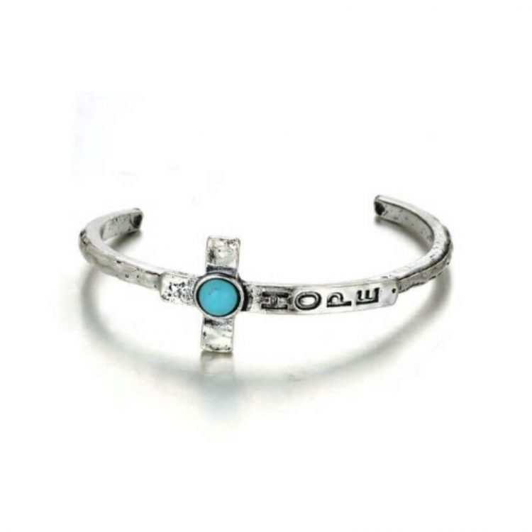 Cross Cuff Bracelet Turquoise Hope Written