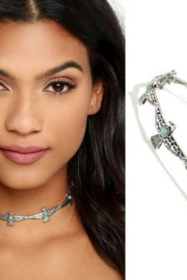 Eagle Link Choker Necklace Turquoise Silver Tone