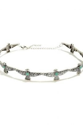 Eagle Link Choker Necklace Turquoise Silver Tone 3