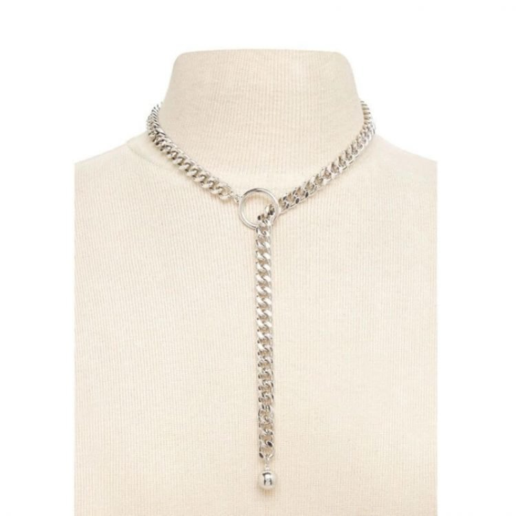 Link Chain Choker Necklace Silver Tone Metal